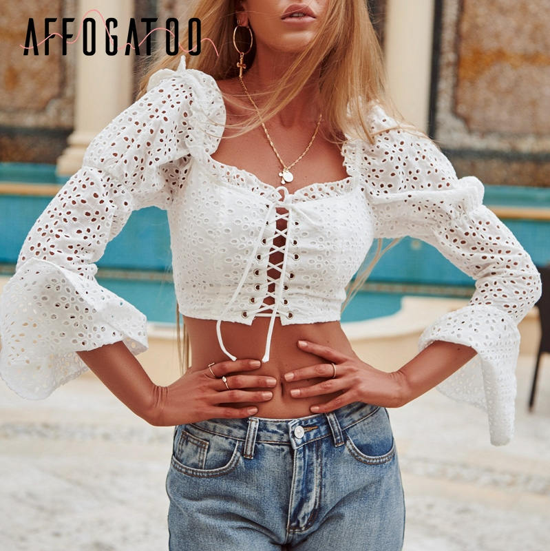 Affogatoo Vintage square collar criss cross lace up women top Sexy backless hollow out tank top ladies solid ruffles cami crop Top