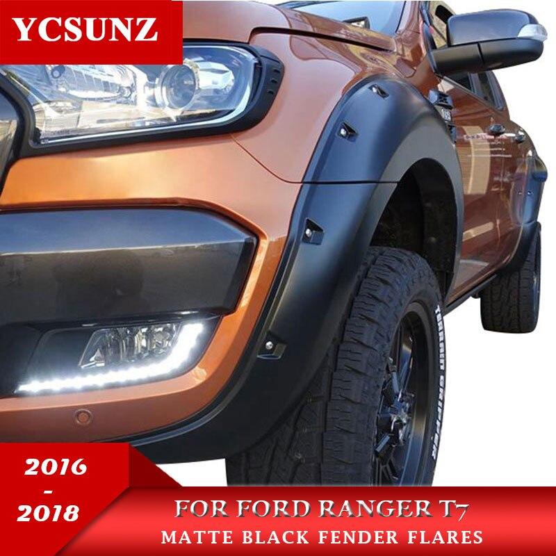 2016-2018 Fender Flare Pour Ford Ranger Wildtrak Accessoires Noir Couleur Garde-Boue Pour Ford Ranger T7 Voiture Rangers Pièces ycsunz
