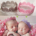 Popular coroa rendas bebê foto Prop menina rainha princesa coroa de aniversário, Recém-nascido fotografia adereços de cabelo accesorries