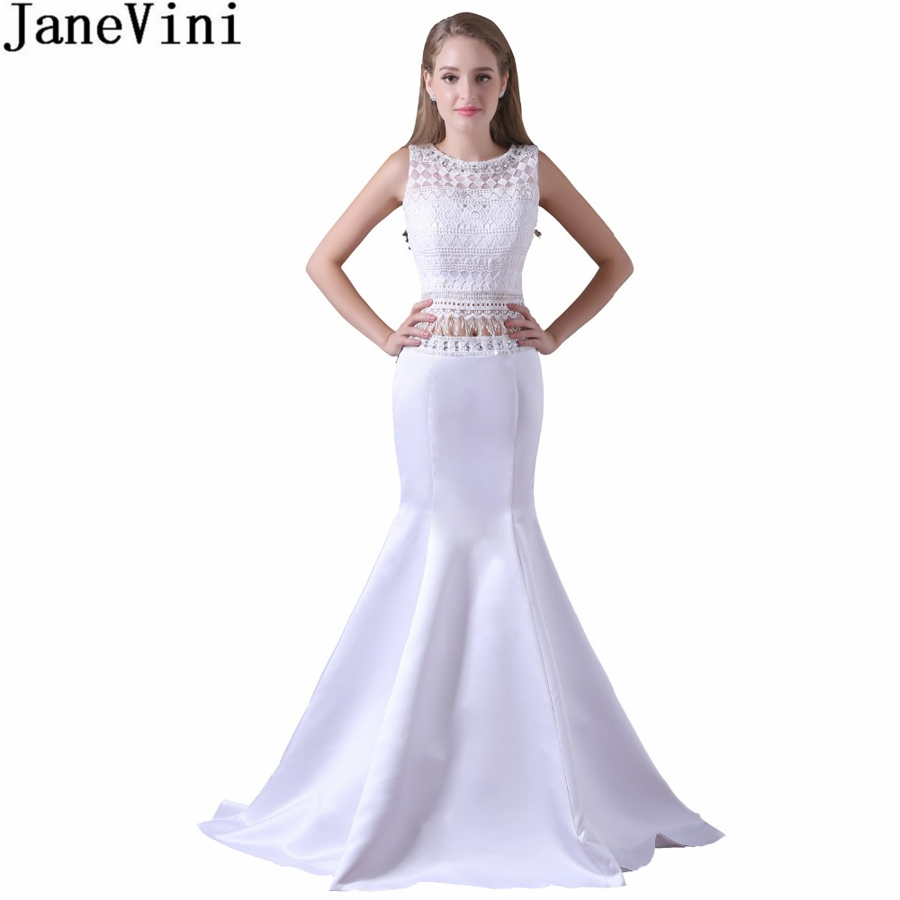 JaneVini Elegant White Mermaid Long   Bridesmaid     Dresses   2018 Lace Beaded 2 Pieces Prom   Dress   for Women Wedding Party   Dress   Satin