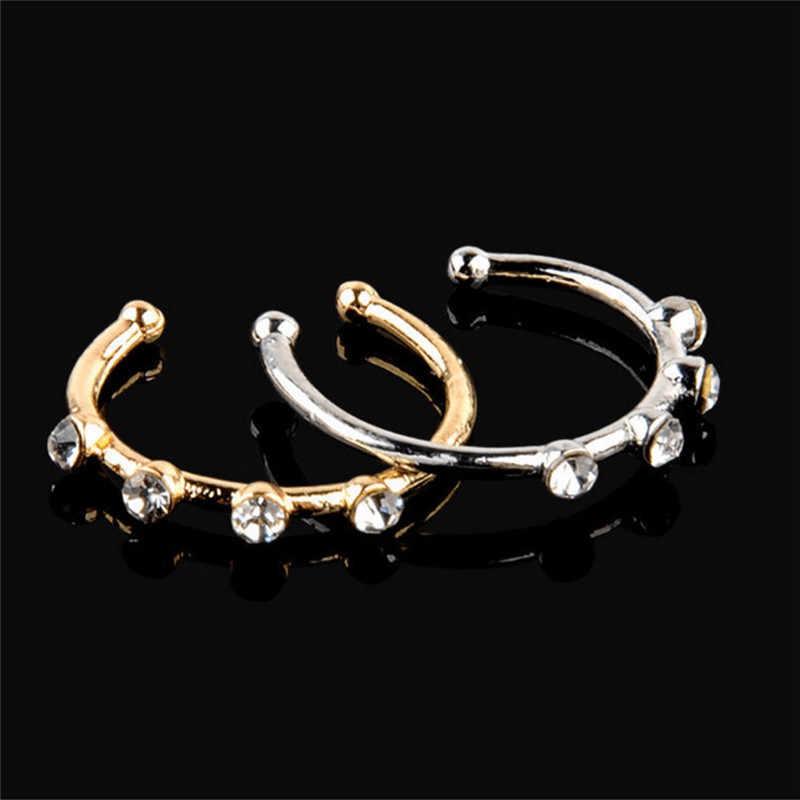 1 Pc זהב צבע כסף אף קריסטל ריינסטון טבעת אוזן שפתיים Labret גוף Percing עצם Stud תכשיטי אבזר