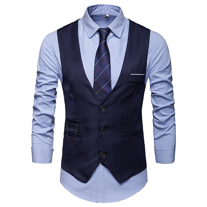 Men Suit Vest Single-breasted V-neck Slim Fit Formal Blazer for Autumn Winter FS99
