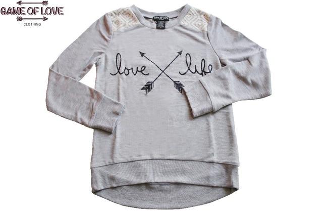 Game Of Love Girls' Raglan Sleeve Letter Print Crochet Shoulders Pullover  Sweatshirt Without Hoodie