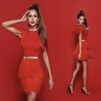 Fringe dress vintage elegant sexy party club wear beach red tight streetwear sundress runway women summer dress 2019 tassel
