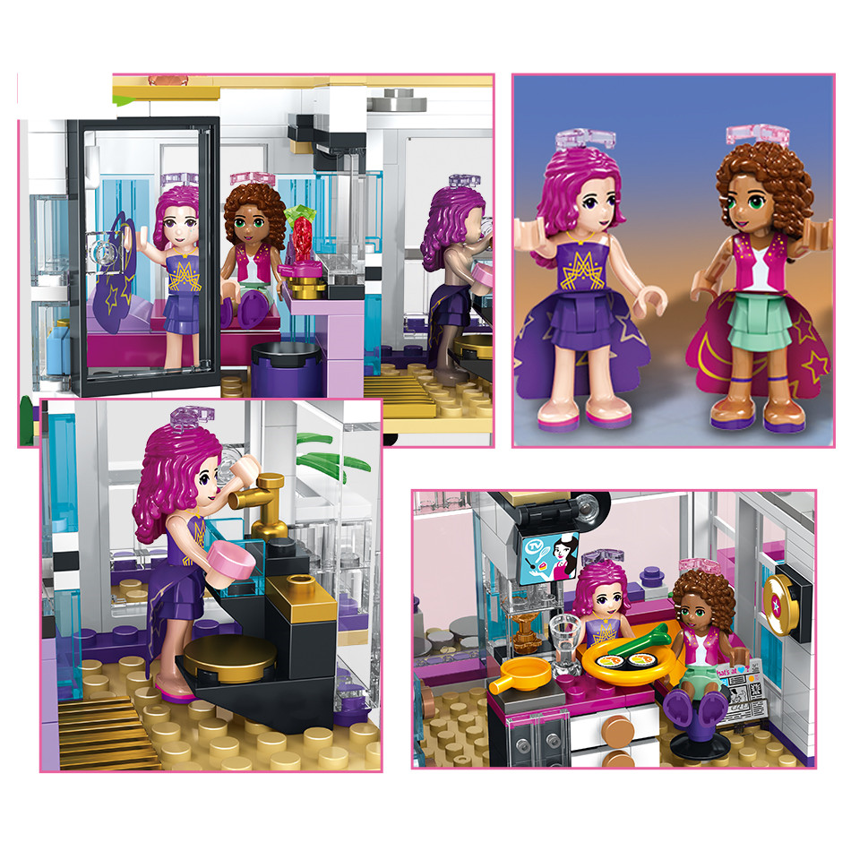 760PCS-Pop-Star-Livi-s-House-Building-Block-Compatible-Legoing-Friend-For-Girls-DIY-figures-Bricks (3)