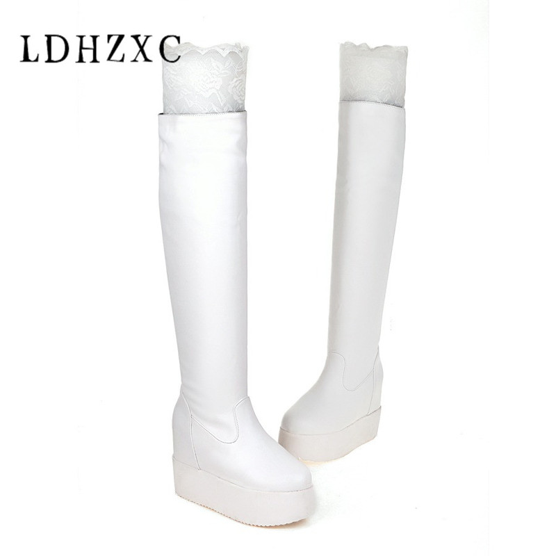 LDHZXC 2018 new slip on chunky Heels Women Shoes Woman winter boots add fur Over The Knee Boots Black Long Booties цена