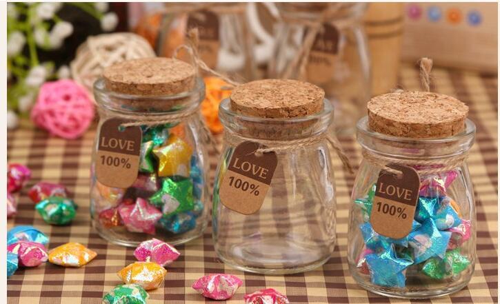30pcs/lot 100ML wedding candy box glass wishing bottle Chocolate pudding bottle
