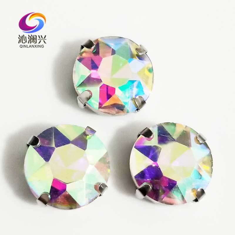 Free shipping AB color round shape flatback High quality Glass Crystal sew on claw rhinestones,Diy Clothing accessories SWB06