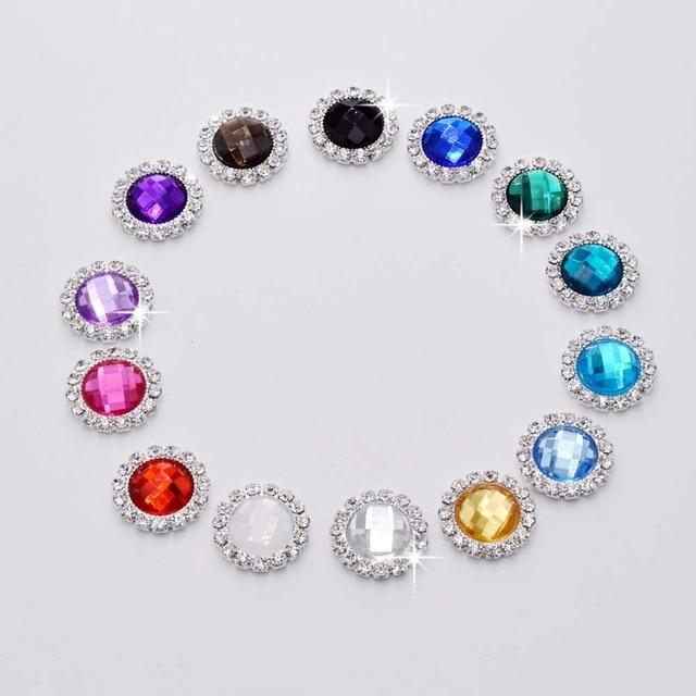 Top sale 50pcs Acrylic 20mm Rhinestone Buttons Strass DIY Girl Hair Accessory  Button Invitation gail hair bowknot Appliques f211c314b2f1