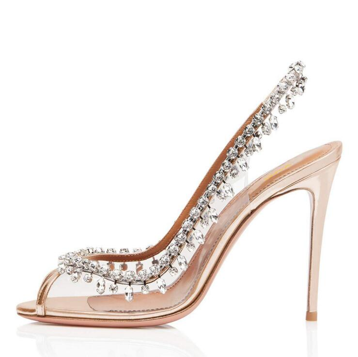 Wedding Shoes Bride PVC Peep toe Slingback High Heels Gorgeous Rhinestone Pumps Women Shoes Plus Size Ladies Shoes With Heel in Women 39 s Pumps from Shoes