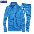 Casual Hombres Conjuntos de Dos Piezas Traje Básico Chaquetas de la Capa + Pantalones Sportswear Sweatpant Moda de Nueva Sudaderas Chaqueta Y Pantalones Anchos