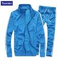 Conjuntos de Duas Peças Terno Dos Homens casuais Jaquetas Básicas Jaqueta Casaco + Calças Sportswear Sweatpant Moda Novas Camisolas E Calças Largas