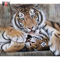 Tiger Painting By Numbers DIY Hanspainted Oil Kits Animal Wall Pictures Coloring By Numbers On Canvas Arts For Wall Living Room