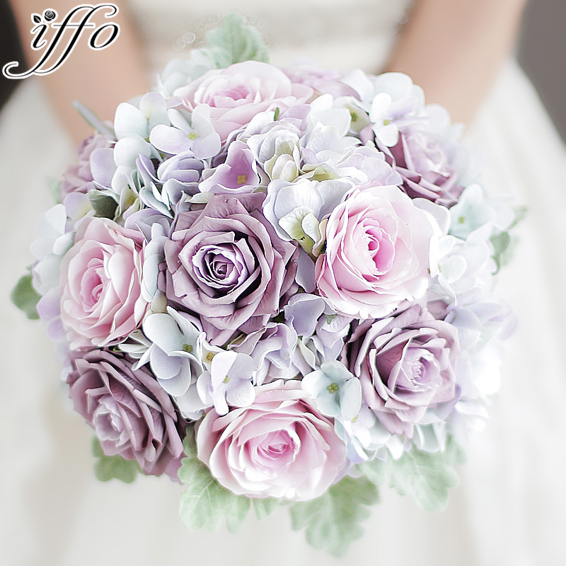 Online Shop IFFO Custom Bride Hand Holding Flower Wedding Bouquet Chest Pink Rose With Petal Green Leaf Drop Drill DIY Decor