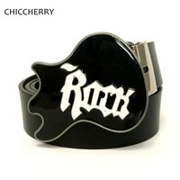 Hot Sale Belt For Men New Arrival Fashion Male Black Leather Pu Belt Guitarra Punk Rock