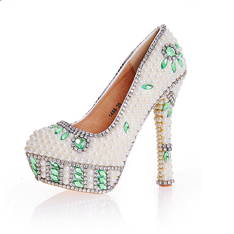 Wedding Shoes Beige Pearl Green Crystal Decor Pumps Women Shoes High Heels Platform Round Toe Sexy Bridal Rhinestone Party Shoes