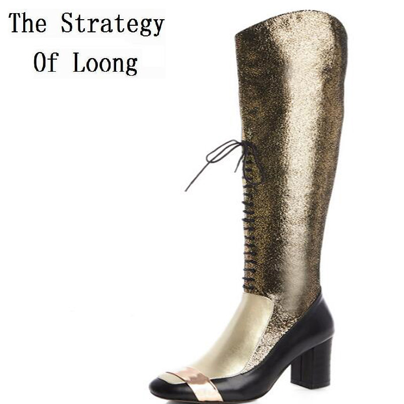 Women Fashion Full Grain Leather Patchwork Over The Knee Boots Genuine Leather Thick Warm Lace Up Winter High Heels Shoes 1109