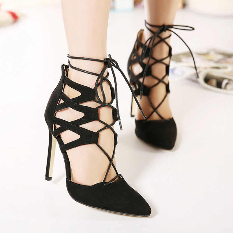 Sexy Heels Women Pumps Pointed High Heel Shoes Lace Up Summer Ladies Shoes Thin Heels Party Wedding Female Shoes Plus Size 35-42
