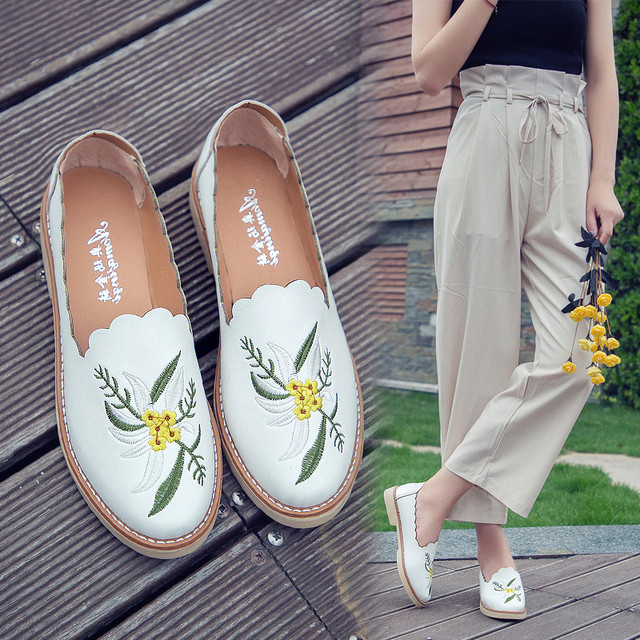 f04933d36de embroider leather shoes women flower fringe flat loafers 2018 preppy style  small white shoes spring shallow mouth slip on