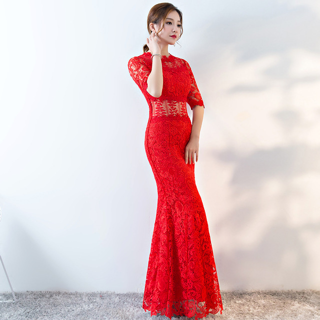 Modern Chinese Wedding Gowns Traditional Qipao Red Lace Cheongsam