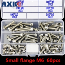 AXK 90PCS 304 stainless steel hex flange bolt bolt set GB5787 small head / GB5789 big head M5M6 dn80 stainless steel ss316l raised face 4 bolt slip on flange industrial