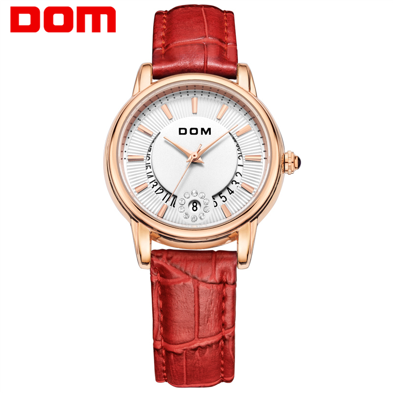 DOM reloj mujer Fashion Casual Watches Ladies Luxury Brand Leather Strap Display Date Quartz-Watch Women clock G-1698GL-4M new design square women watches rebirth popular brand fashion casual ladies watch quartz clock grey wristwatches reloj mujer