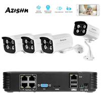 AZISHN Full HD 1080P 4Channel CCTV System 4pcs 2MP Metal Outdoor IP Camera 4CH 1080P POE 48V NVR CCTV Kit HDMI P2P Email Alarm