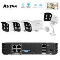 AZISHN Volle HD 1080P 4 Kanal CCTV-System 4 stücke 2MP Metall Outdoor Ip-kamera 4CH 1080P POE 48V NVR CCTV Kit HDMI P2P E-mail Alarm