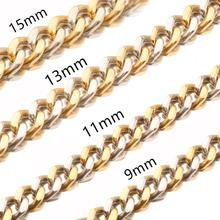 Hot Sale Mens Fashion Jewelry 9/11/13 /15 MM 7-32 Inch Stainless Steel Silver Gold Curb Cuban Chain Necklace Charm