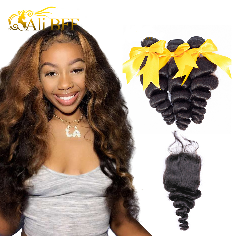 Human Hair Weaves Aspiring Ali Sky Peruvian Hair Body Wave 3 Bundles With 360 Lace Frontal Closure Pre Plucked With Baby Hair Non Remy 100% Human Hair 3/4 Bundles With Closure