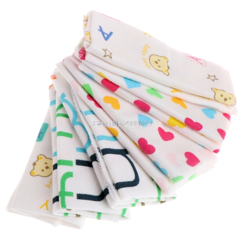 6Pcs Baby Cartoon Towels Handkerchief Bathing Feeding Face Washcloth Wipe Cloth -B116