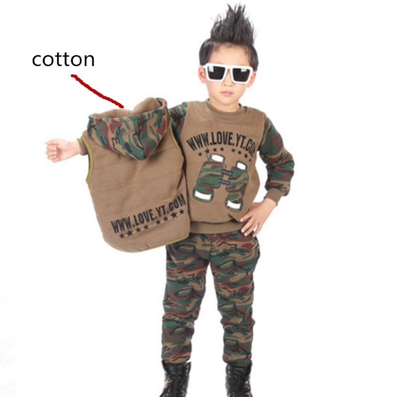 Kids Clothes Winter 2018 3pcs Sweatshirts Boys Clothes Set Camouflage Hooded Vest Sport Suit Children Clothing Sets Cartoon Long db4282 davebella boys sport clothing set children navy sets kids clothes