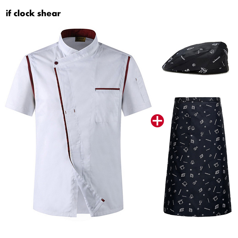 Short Sleeve Kitchen Work Clothes IF New Men And Women Chef Restaurant Uniforms Breathable Catering Jacket +Hat +Apron Wholesale