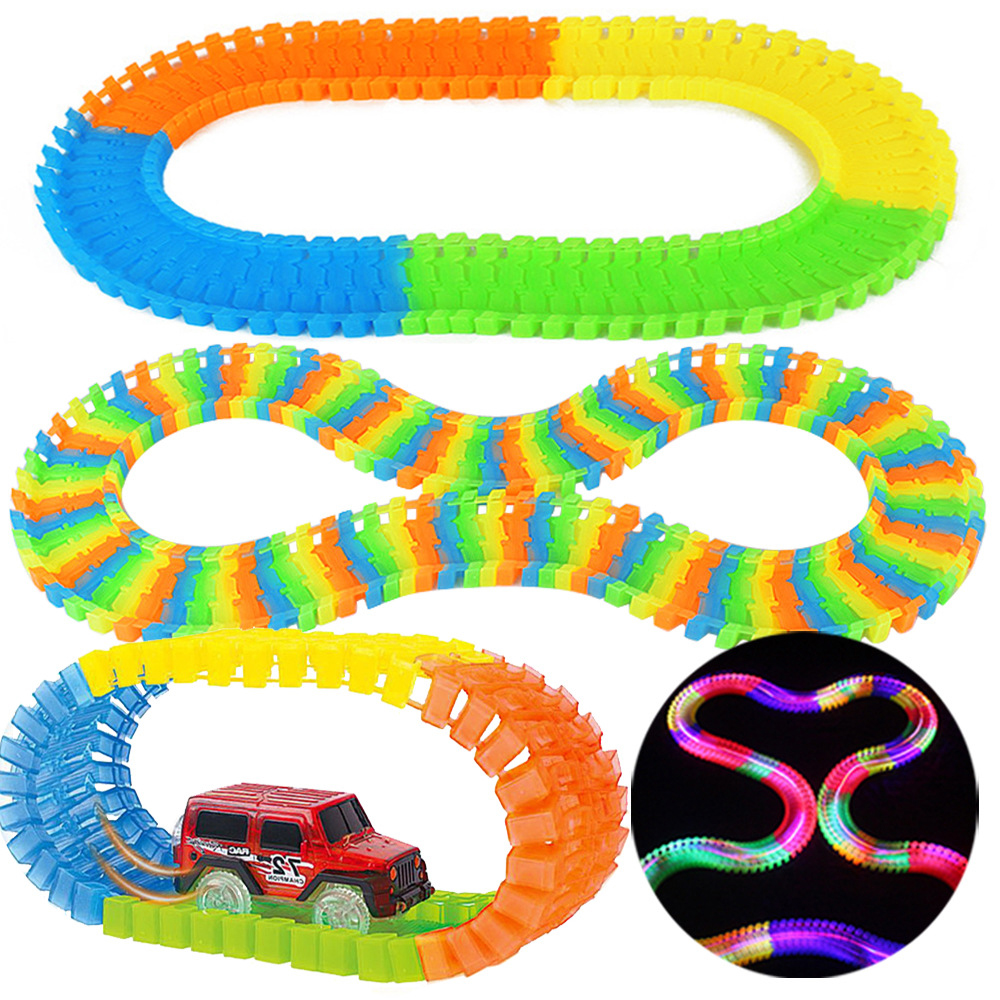 New Miraculous Glowing Race Track Bend Flex Flash in the Dark Assembly Car Toy 150/165/220/240pcs Glow Racing Track Set