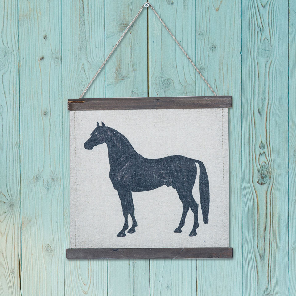 Wood Framed Scroll Vintage Paintings Wall Art Horse Pattern Picture ...