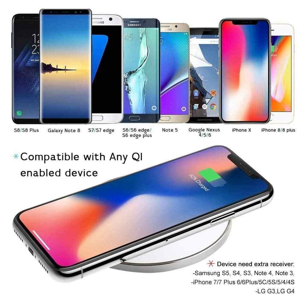 Byleen 10W Putih Hitam Qi Wireless Charger untuk iPhone X 8 Plus Cepat Pengisian Dudukan untuk Samsung S9 S8 s7 PLUS Ponsel Cepat