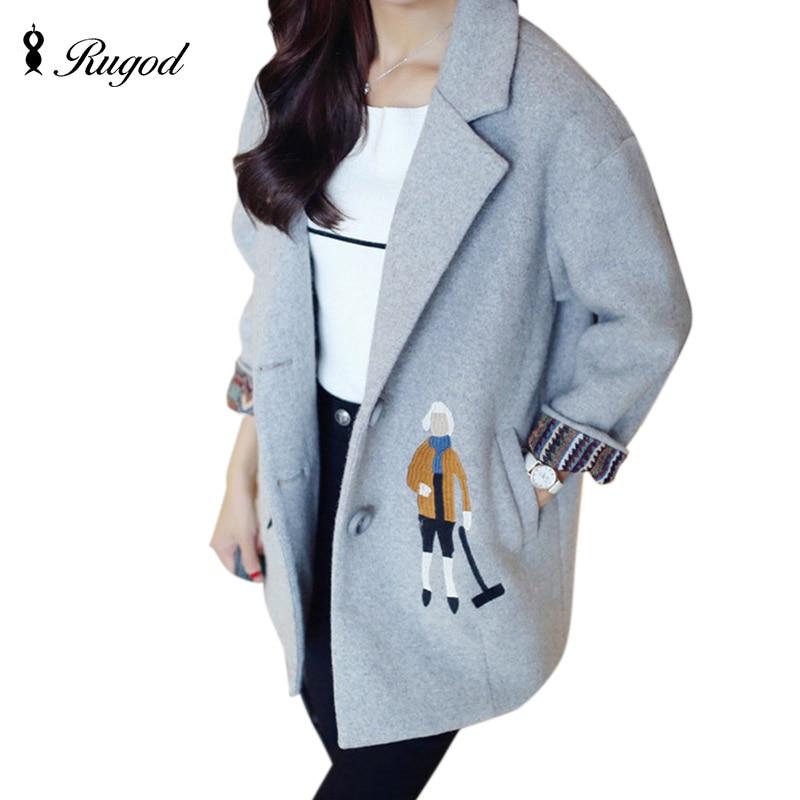 Rugod 2018 Spring Winter Warm Wool Coat Female Sweet Cartoon Embroidery Cotton padded Lining Coat Women