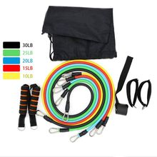 11 Pcs Resistance Band Set Workout Exercise Strap Door Anchor Handle Strength Training Home Gym Workouts Sports Accessory elastic rope resistance band set with door anchor ankle strap exercise chart