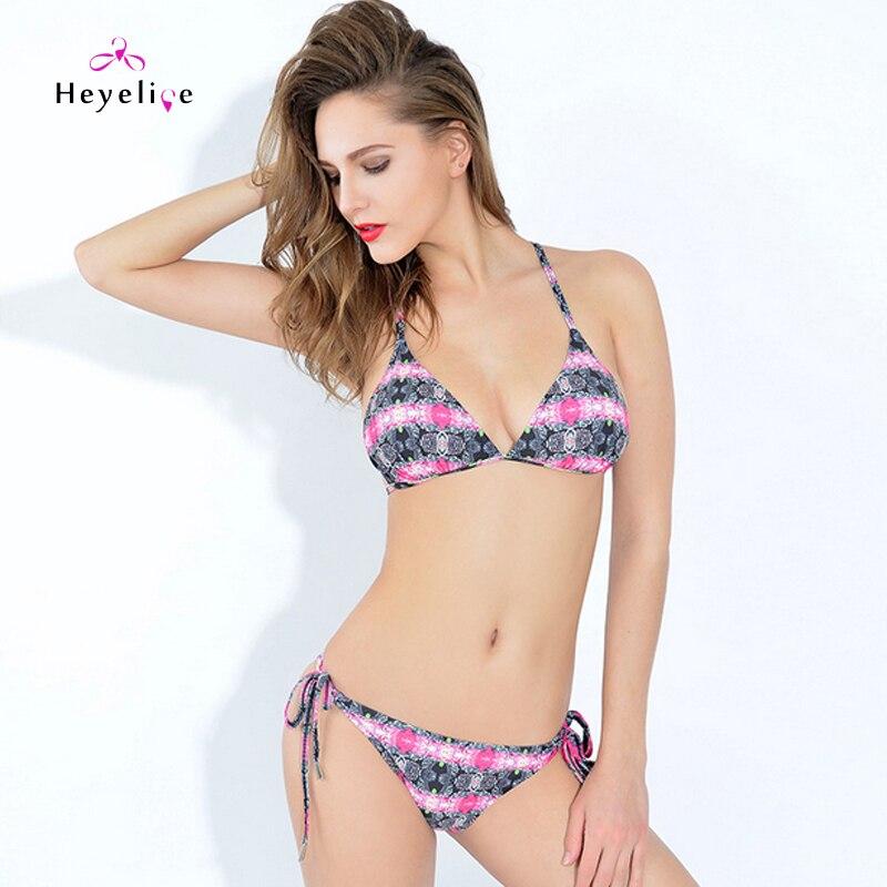 Heyelice Beach Styles Store Newest Brazilian Bikinis Printing Sexy Bathing Suits Women Padded Push-Up Swimsuits Bandage Hollow Swimwear Micro Bikini Biquini