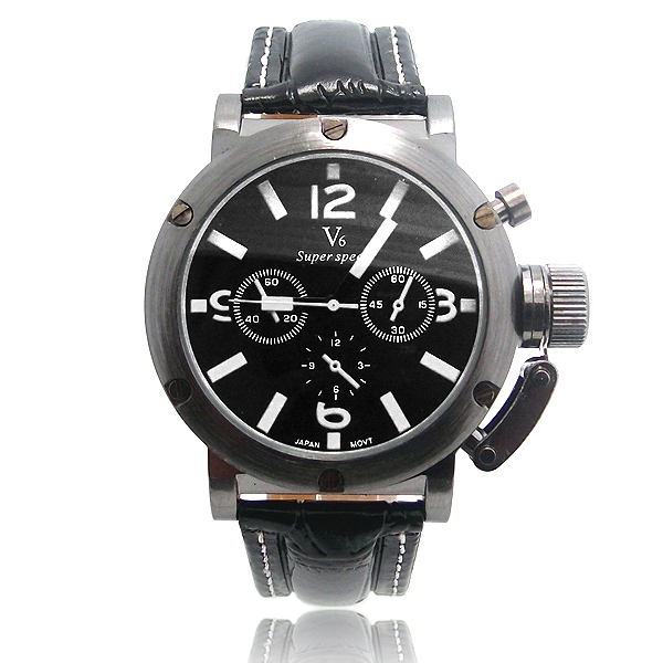 Luxury Fashion V6 leather watches Men Military Sports Quartz Wristwatches Relogio Masculino KZ113