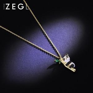 Image 5 - ZEGL בעלי החיים שרשרת פנדה שרשרת אישה תליון עצם הבריח שרשרת בסגנון סיני שרשרת צוואר שרשרת