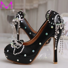 New Lovely Wedding High Heel Platform Crystals Shoes Aesthetic Rhinestone Bridal Shoes Diamond Lady Shoes Wedding Party