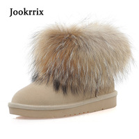 Jookrrix New Winter Ankle Snow Boots Genuine Leather Women Fashion Warm Shoes Cow Leather High Quality