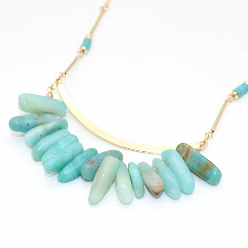 BIG J.W Trendy Long Statement Necklaces For Women Blue Stone Pendant Necklace Bohemia Style Jewelry Gold Chian India Jewelry
