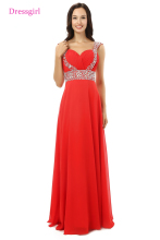 A-line Red Chiffon Beaded Long Prom Dress