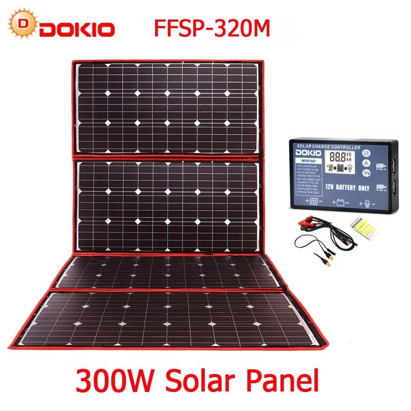 Dokio 300 W 18 V Hiqh Qualidade Portátil Painel Solar Flexível Dobrável Painel Solar China Para Camping/Barco/ RV/Viagem/Home/Carro