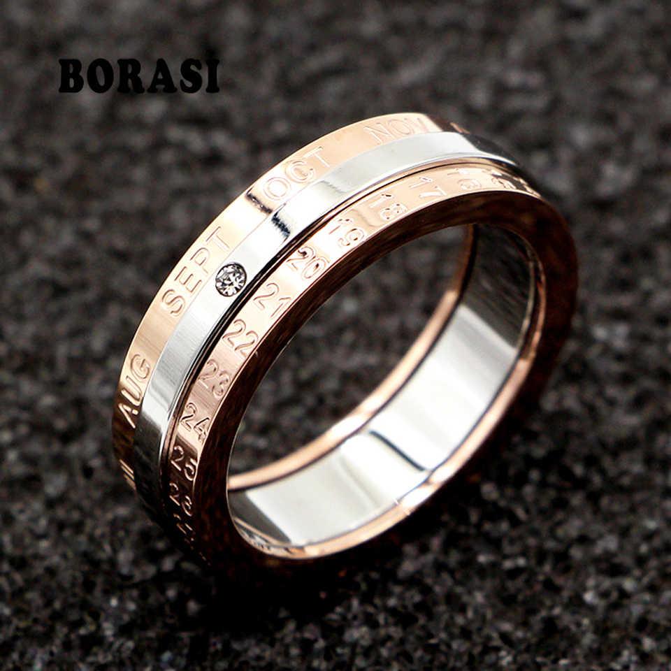 การออกแบบคลาสสิกหมุนปฏิทินและวันที่แหวนไทเทเนียมคุณภาพสูง Rose สีกลางเงินยี่ห้อแหวนผู้หญิงเครื่องประดับ