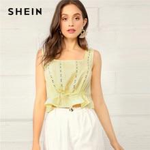 523a28b6665 SHEIN Bohemian Yellow Lace Insert Drawstring Waist Peplum Crop Tank Top  Women Summer 2019 Solid Eyelet Ruffle Casual Vests