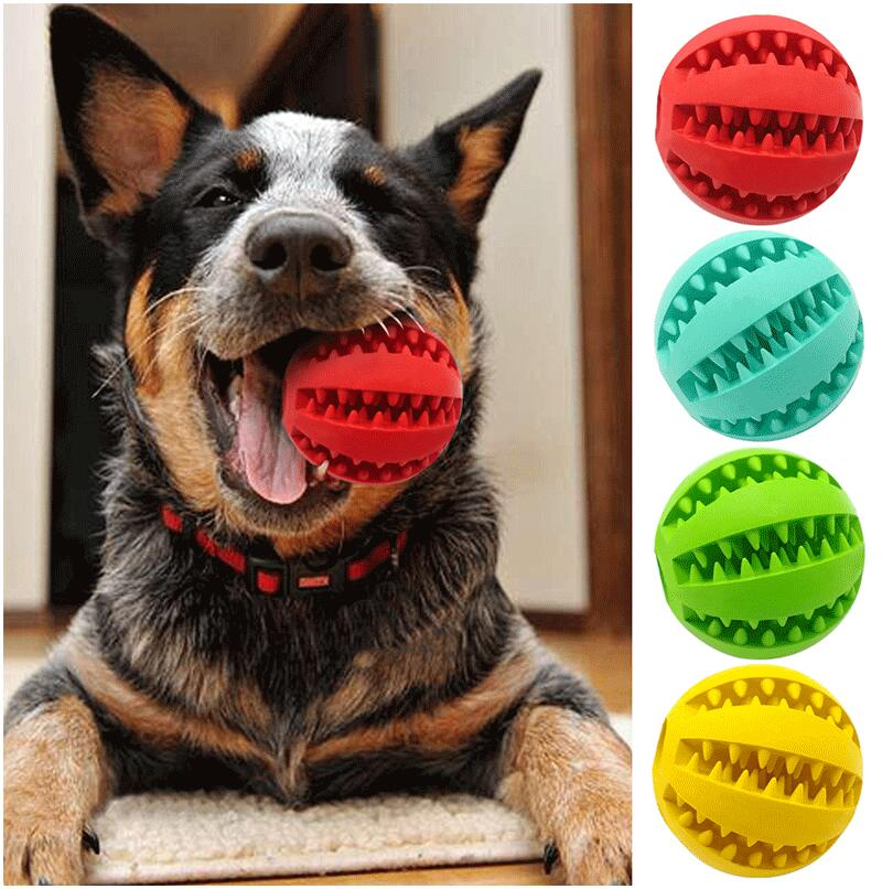 Funny Pet Dog Toys Nontoxic Bite Resistant Toy Ball for Pet Dogs Puppy Dog Food Treat Feeder Tooth Cleaning Ball Chihuahua AA