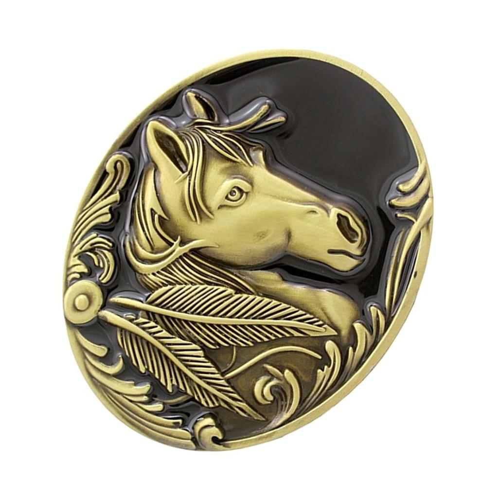 Retro Engraved Animal Fashion Horse Head Bronze American Cowboy Belt Buckle